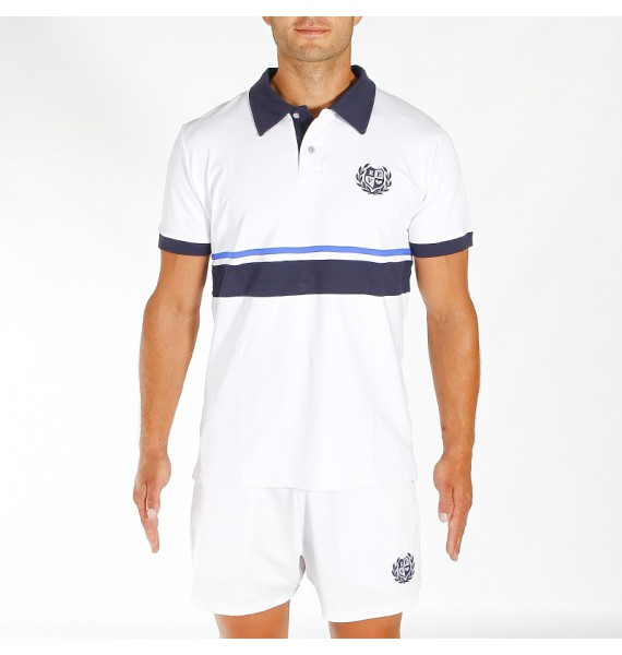 WHITE TECHNIC POLO WITH STRIPES